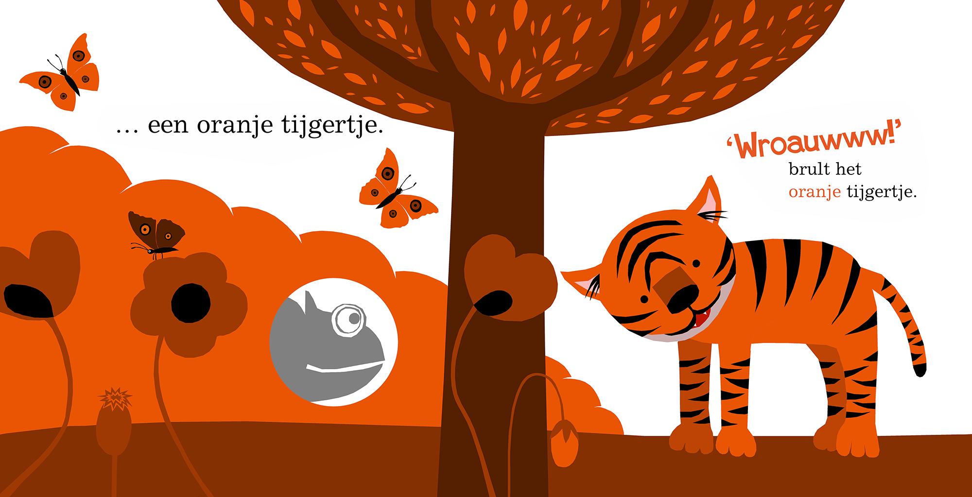 Illustratie voor prentenboek Kameleon ziet kleuren (met kijkgaatjes) / Illustration for Children's Book Chameleon Sees Colors (With Peepholes), Clavis Publishing